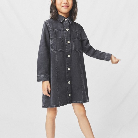 NWT ZARA GIRLS Black Denim Shirt Dress - 13/14(XL)